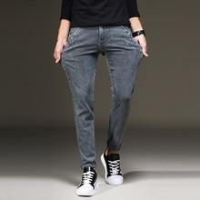 2018 Grey Jeans Pants Men Stretch Denim Skinny Slim Fit Young Biker Streetwear Male Cowboys Trousers Korean Men Fashion Clothing