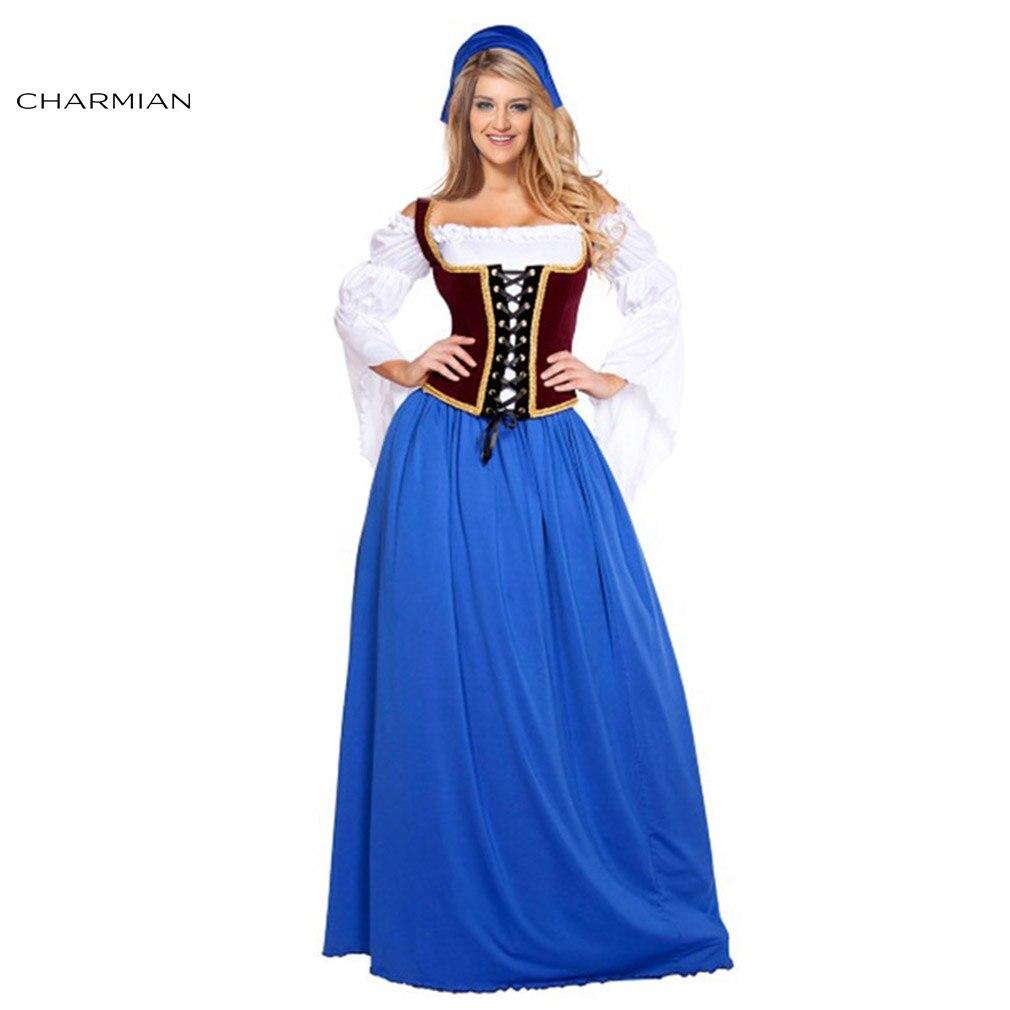 Charmian Bar Maiden Costume Bavarois Bière Oktoberfest Costume pour Femmes Adulte Miss Suisse de Ménage Jeune Fille Carnaval Robe