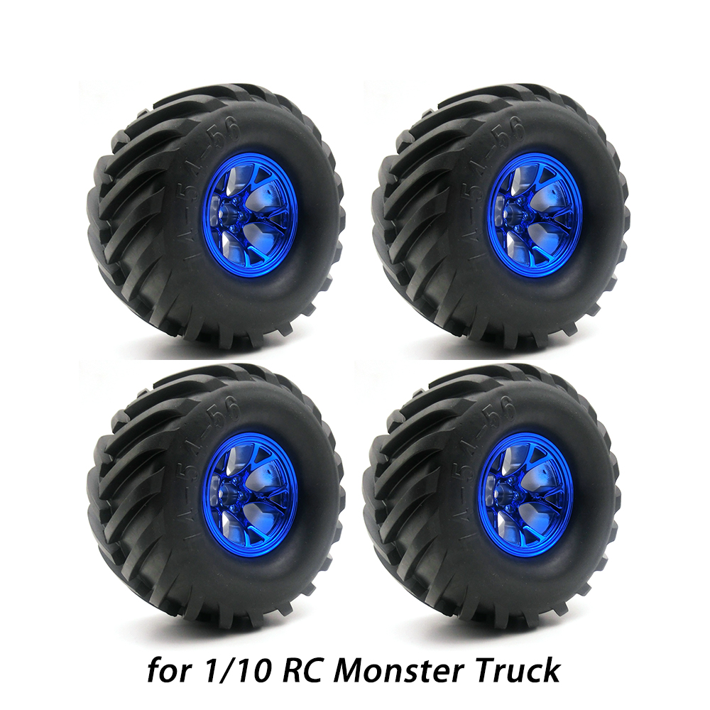 4Pcs Wheel Rim Tire Set for 1/10 RC Monster Truck Traxxas HIMOTO HSP HPI Tamiya Kyosho Remote Control Truggy Car 4pcs aluminum alloy 52 26mm tire hub wheel rim for 1 10 rc on road run flat car hsp hpi traxxas tamiya kyosho 1 10 spare parts