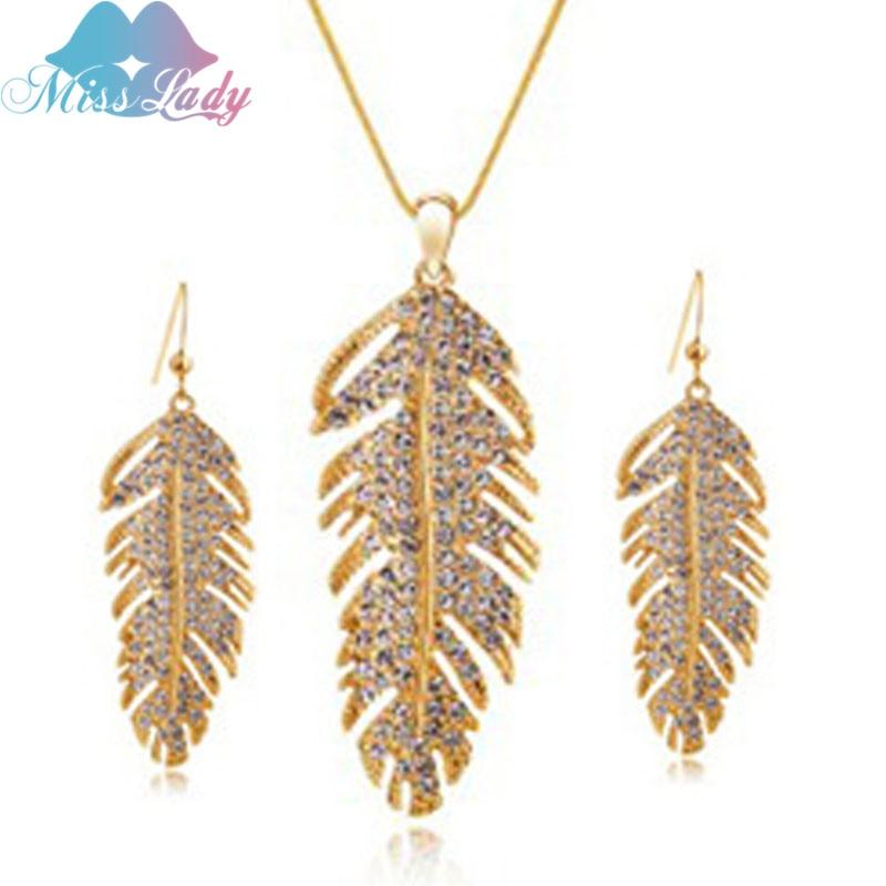18K Gold Plated Rhinestone Crystal Vintage Leaf imitation font b pearl b font Jewelry Sets Fashion