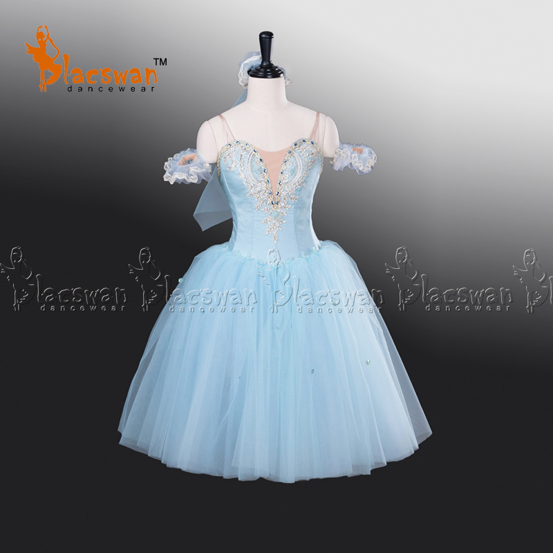 Bleu clair Fée Ballet Long Tutu Robe BT709 Femmes Professionnel Tutu de Ballet Romantique Tutu Ballet Costume de Scène avec tête pièce