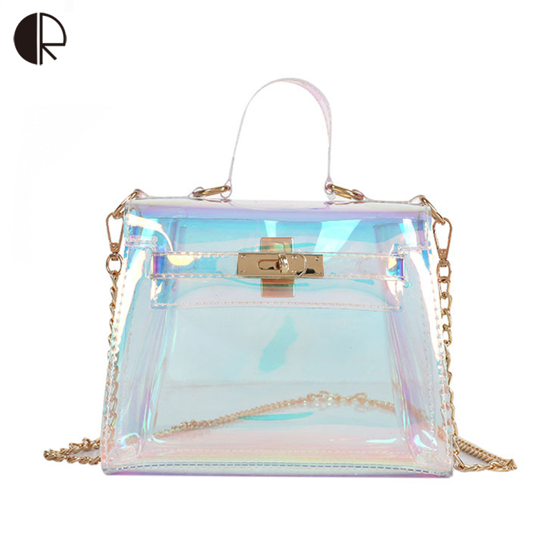 US New Women Transparent Handbag Beach Clear Jelly Crystal Purse Crossbody Bags