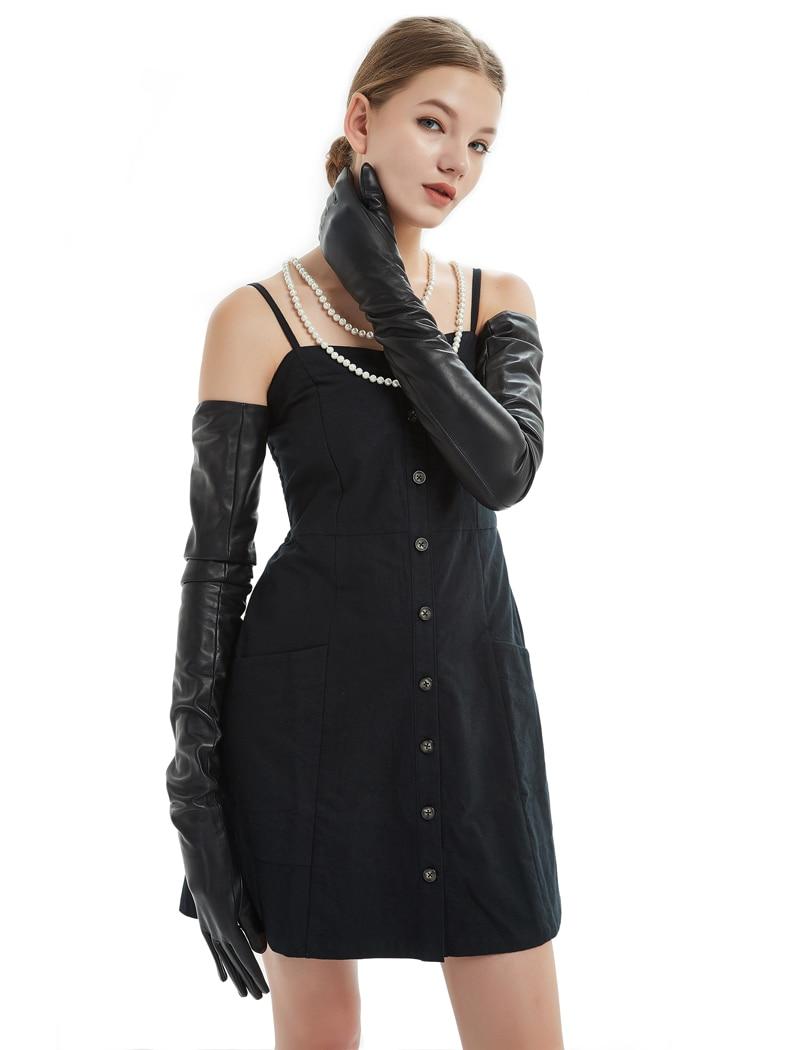 80cm 31 5 long plain super long real sheep leather opera long gloves black