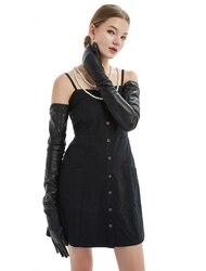 80cm(31.5) long plain super long real sheep leather  opera long  gloves black
