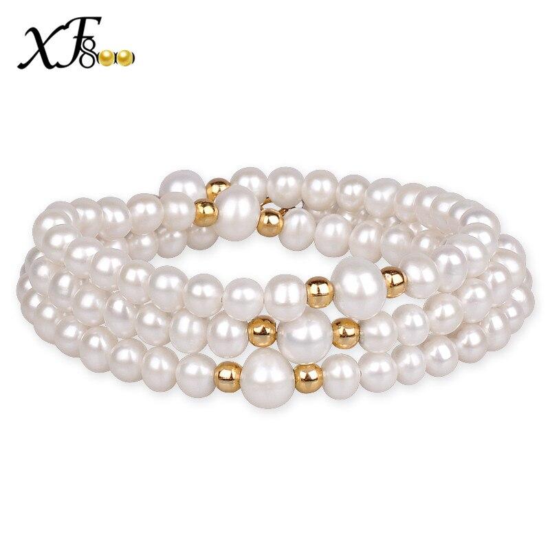 XF800 Bracelet de perles d'eau douce naturelles près de Bracelet de perles d'eau douce réelles rondes 5-6 MM bijoux fins cadeau à la mode pour les femmes S110