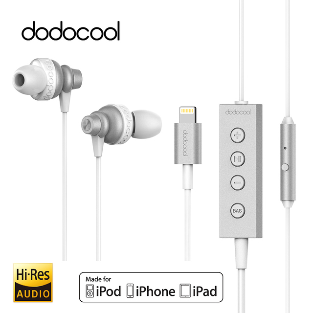 5207adb09b7 dodocool MFi Hi-Res In-ear Stereo Earphone with Lightning Connector Mic for  iPhone