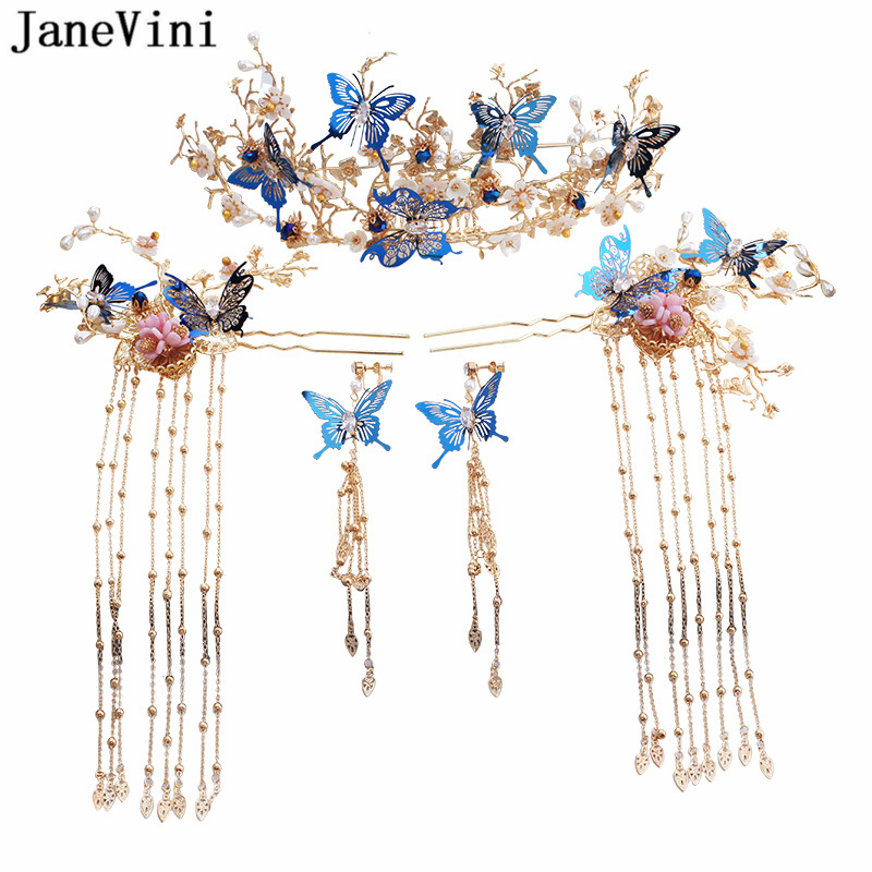 JaneVini Luxury Chinese Style Gold Bridal Headwear Costume Blue Butterfly Hairpin with Earrings Wedding Jewelry Hair