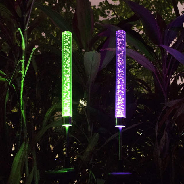 Us 20 71 40 Off 2pcs Garden Solar Lights Outdoor Acrylic Bubble Rgb Color Changing Stake For Patio Backyard Decoration In