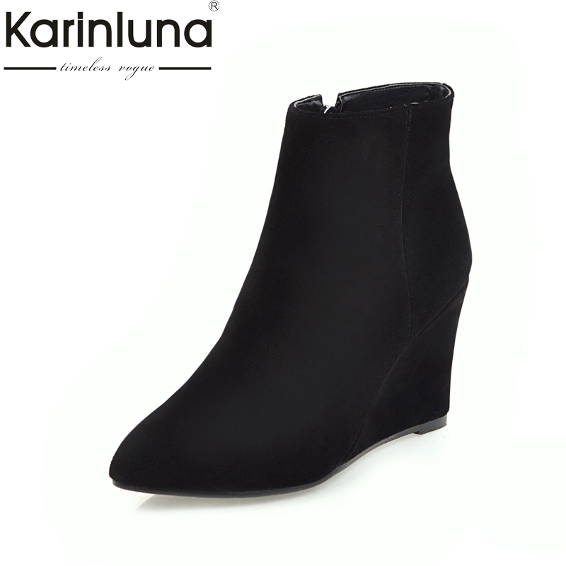 KARINLUNA New Large Size 33-43 wedge High Heels Ankle Boots shoes Woman Fashion Party Shoes Women Short Boots karinluna 2018 large size 31 43 fashion ruffles women shoes sandals fashion wedges high heels party summer shoes woman