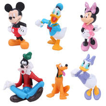6pcs/Set Disney Mickey Minnie Donald Duck Cartoon Action Figure Childre's Birthday Xmas Kids Toy Free Shipping