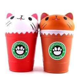 Squish Antistress Kawaii Squishies lente augmentation Jumbo parfumé Cappuccino tasse à café chat jouets amusants 30S8515 livraison directe