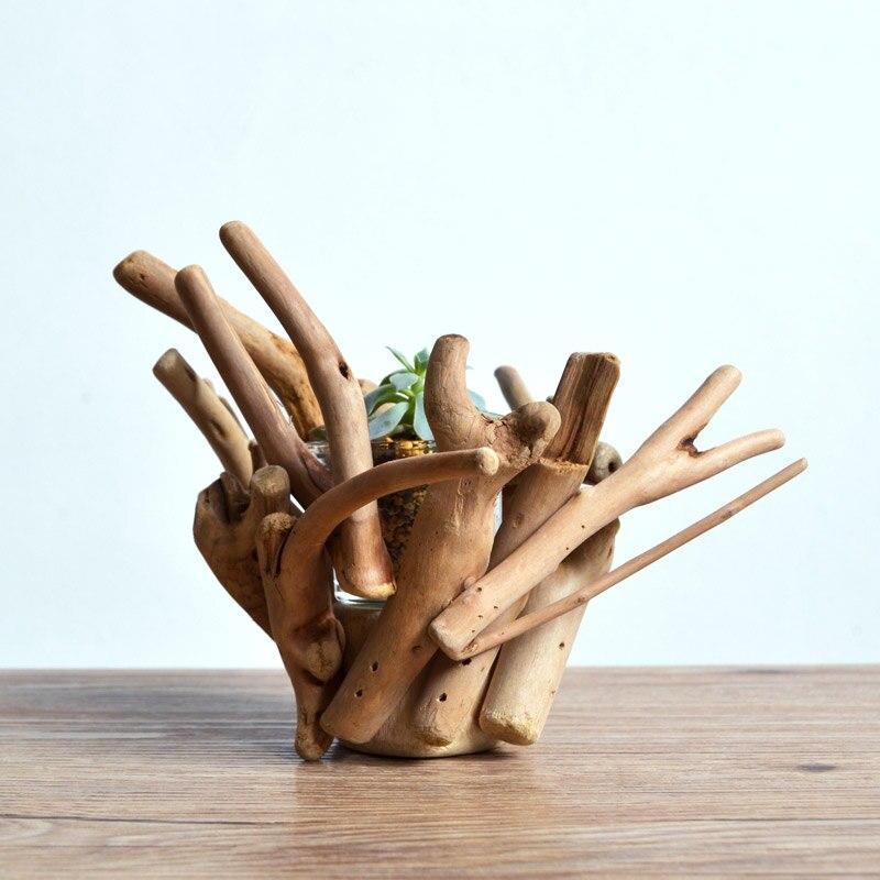Ручной работы driftwood ваза Творческий Цветочные горшки суккуленты кашпо эко натурального дерева Home/Кофе магазин Декор Настольная Ваза подаро...