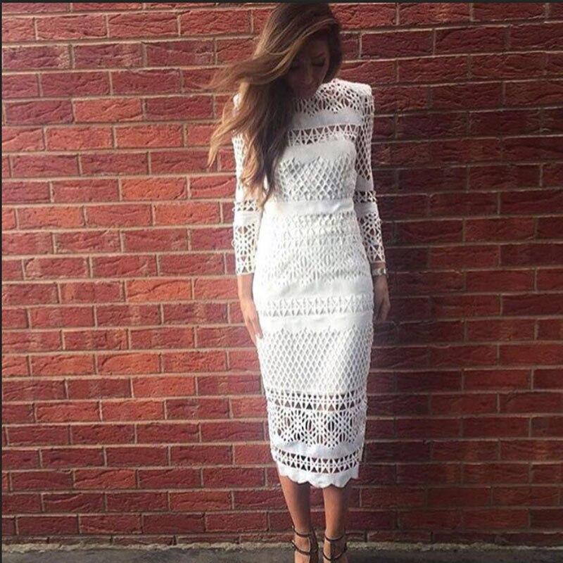 2018 Summer Autumn Women White Lace Dress Hollow Out Elegant Vintage Black Long Sleeve Bodycon Female Sexy Dress