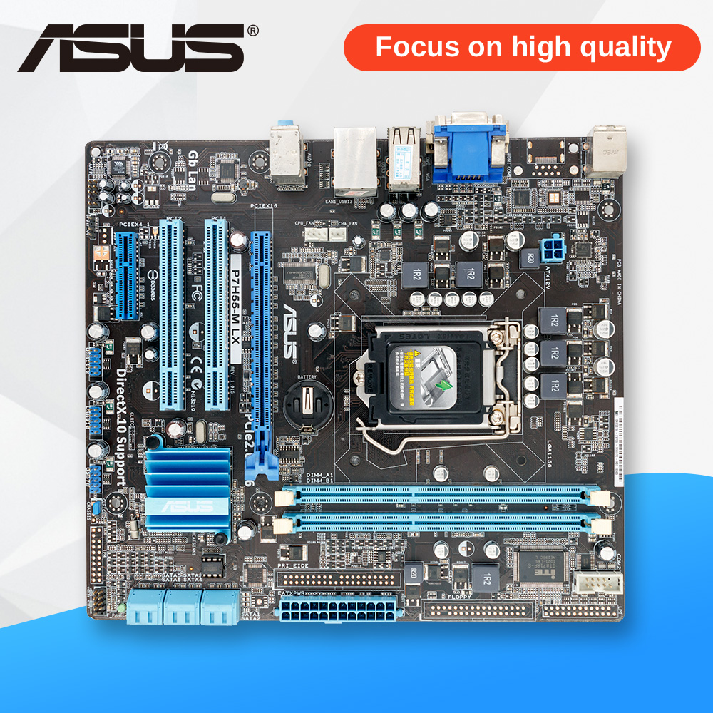 Asus P7H55-M LX Desktop Motherboard H55 Socket LGA 1156 i3 i5 i7 DDR3 uATX On Sale msi original zh77a g43 motherboard ddr3 lga 1155 for i3 i5 i7 cpu 32gb usb3 0 sata3 h77 motherboard