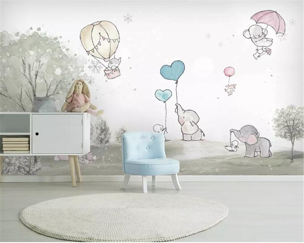 Us 8 85 41 Off Beibehang Custom Mural Cute Cartoon Balloon Bear Cub Animal Child Room Background Wall Wallpaper Landscape Home Decor Wallpaper In
