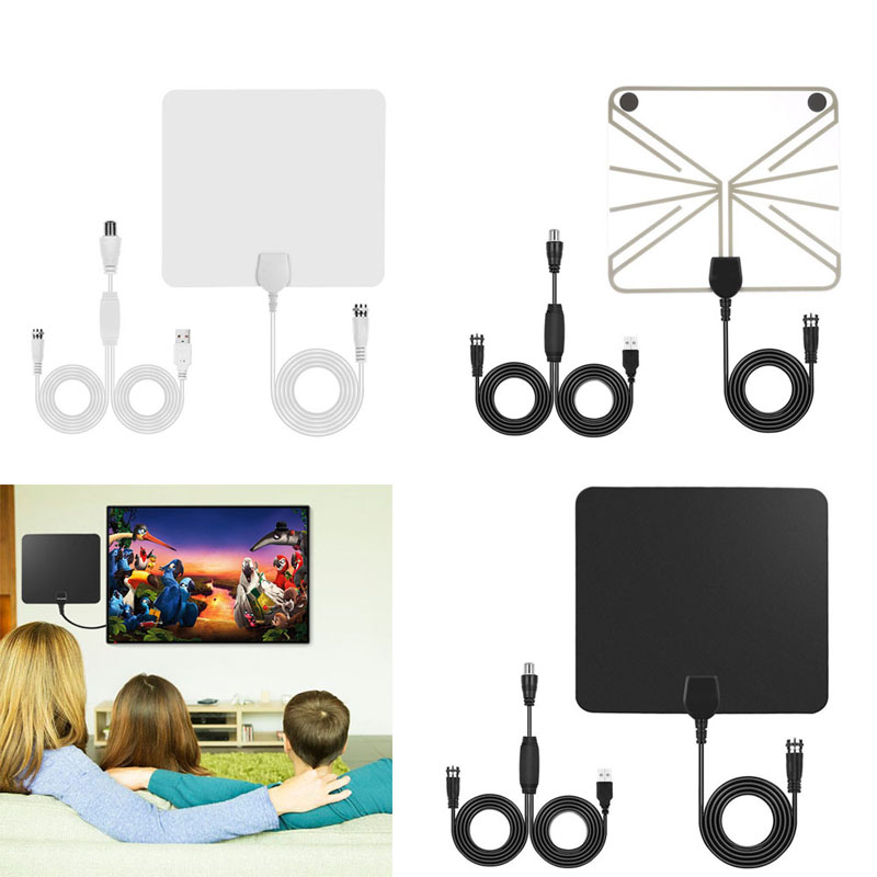 New Indoor HD Digital TV Antenna with 50 Miles Long Range Amplifier HDTV Signal Booster 10ft Coax Cable GDeals