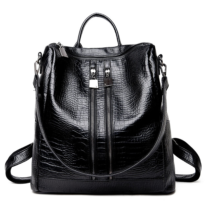 2017 Trend Fashion Crocodile Backpacks Man Pu Leather School Bag Women Backbag Black Mochilas Escolar Feminina Backpacks Travel doodoo fashion streaks women casual bear backpacks pu leather school bag for girl travel bags mochilas feminina d532