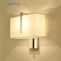 Edelstahl + Beige Stoff lampenschirm LED wandleuchte Rechteck hotel nachttischlampe Treppen Kunst Decor led wandleuchten leuchte