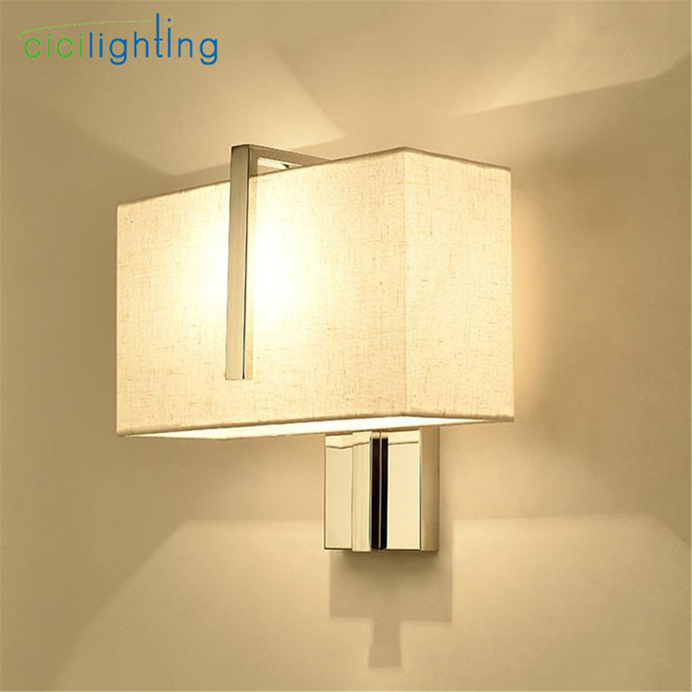 Stainless Steel+Beige Fabric lampshade LED wall lamp Rectangle ...