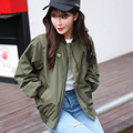 Autumn Women Bomber Jacket Solid casual Celeb Army Green Coat Embroidery Small Stand Collar Coat Short Outerwear Baseball Jacket