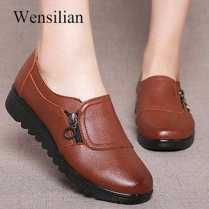Image 1 - 패션 여성 플랫 가죽 신발 여성 슬립 로퍼에 안티 슬립 Moccasins 숙녀 신발 블랙 Zapatillas Mujer 캐주얼