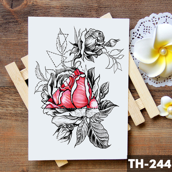 Sketch Flower Blossom Peony Rose Waterproof Temporary Tattoo Sticker Black Tattoos Body Art Arm Hand Girl Women Fake Tatoo 2