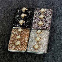 Flower Cigarette box Women with crystal Metal cigarette box Smoking Tobacco case box for Women's fashion accessories