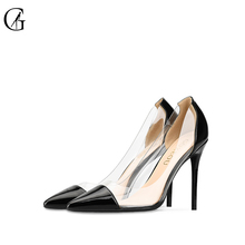 Купить с кэшбэком GOXEOU Women Pumps 2019 Transparent black  High Heels Sexy Pointed Toe Slip-on Wedding Party Shoes For Lady plus Size 32-46