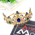 Baroque European Design Hair Accessory Blue Green Crystal Tiara Headband Rhinestone Hairband Wedding Bridal Queen Pageant Crown