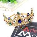 Barroco europeo accesorio para el pelo diseño azul verde Crystal Tiara diadema Rhinestone Hairband boda nupcial Queen Pageant Crown