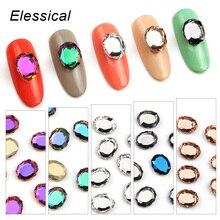 Elessical 10pcs bag K9 Crystal Rhinestones Magic Mirror Flatback Nail Ornaments DIY 3D Nails Decorations Strass
