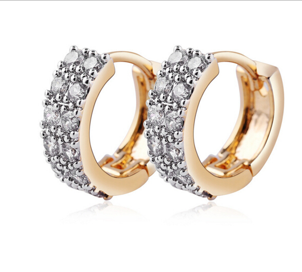 Luxury Round Earrings Cubic Zirconia Gold Color White Stone Crystal Circle  Hoop Earring 17df5a037282