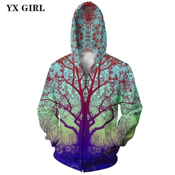2018 New Fashion Men/Women Zipper Hoodies Tree Galaxy Space 3d Printed Pullover Autumn Sportswear Hooded Sweatshirt Unisex