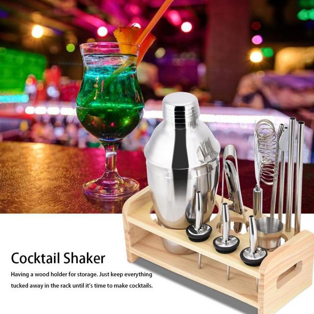 Barware Cocktail Shaker Set with Wood Holder