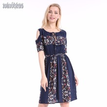 2017 New Arrival Women Print Dark Blue Accept Waist Off The Shoulder Collar Frenulum Casual Retro Dress Plus Size 3XL-6XL