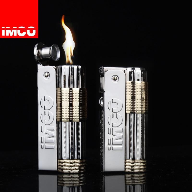 Genuine IMCO Lighter Stainless Steel Lighter Original Oil Gasoline Cigarette Lighter Cigar Fire Creative Gift Petrol Lighters