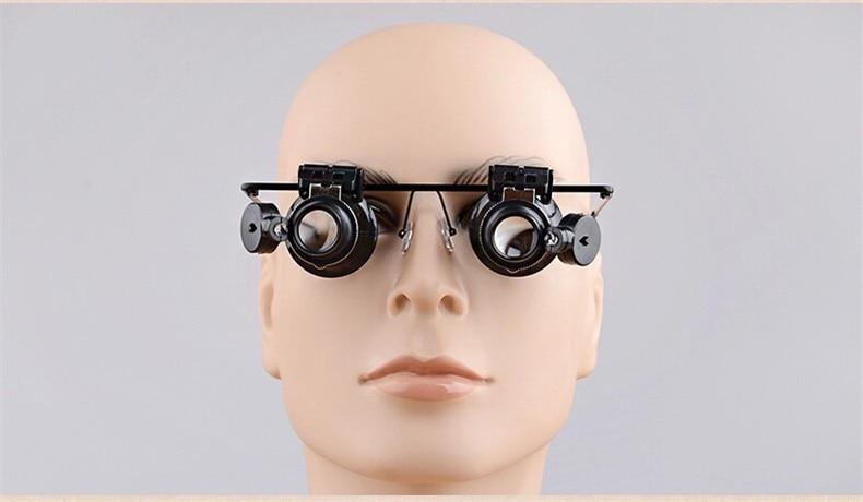 20X Watch Repair Óculos Estilo Lupa Binocular Dental Lupas Com Luzes LED  Óculos Lupa com caixa cc737b3c55