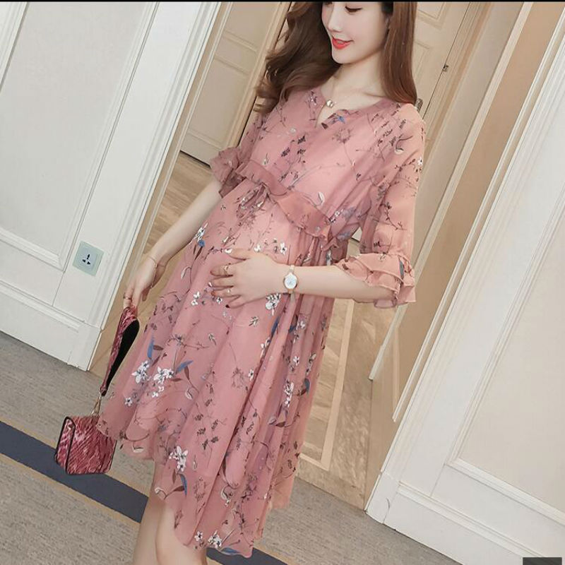Maternity Dresses New 2018 Summer Pregnancy Clothing V-neck Chiffon Maternity Clothes Floral Dresses For Pregnant Women