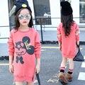 Adolescentes Invierno Snowsuit Fleece Ropa Ocasional de La Muchacha de la historieta Gruesa Capucha Niños Niñas Lentejuelas manga Invierno de Algodón prendas de Vestir Exteriores