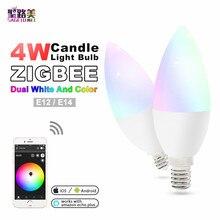 цена на zigbee zll led 4W RGB+CCT candle light bulb Lamp Smart Phone APP control AC100-240V E12/E14 work with Amazon Echo free shipping