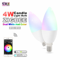 zigbee zll led 4W RGB+CCT candle light bulb Lamp Smart Phone APP control AC100 240V E12/E14 work with Amazon Echo free shipping