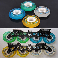 Slide Wheel 88A Durable PU Inline Skating Wheels Green Blue Yellow White Half Transparent Frosted Rodas