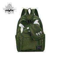 MYLX 나일론 방수 배낭 여성 Mochila Feminina 패턴 블랙 학교 백팩 소녀 Bagpack 여성 배낭 육군 녹색