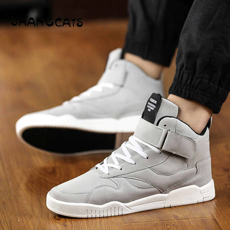 Men's Vulcanized Shoes lace-up high top design men sneakers casual winter shoes fashion man shoes without lace trend 2019 black