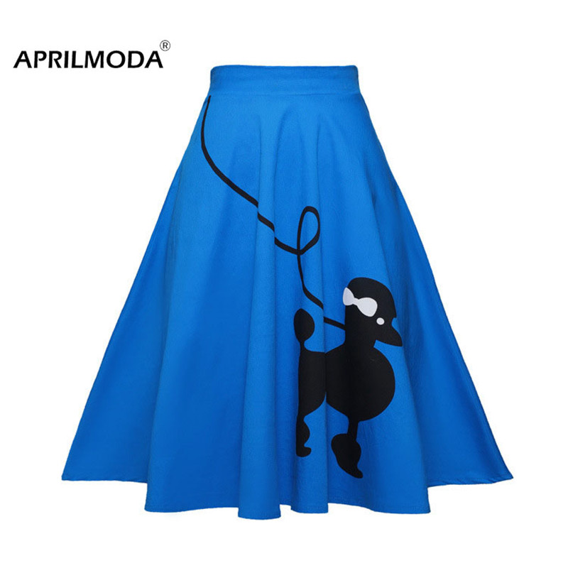 Gorgeous 50's 60's Poodle Rockabilly Retro Swing Skirt Grease Fancy Costume 1950s Girls Plus Size Saia Pinup Skirts Jupe Faldas