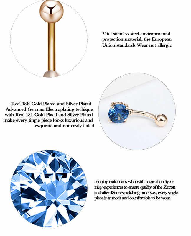 Cxwind פירסינג טבור כירורגי פלדת טבעות אחת ריינסטון טבעות טבור פירסינג טבעת סקסי גוף תכשיטים סיטונאי