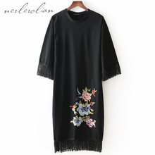 Nerlerolian 2018 Women Black Floral Embroidery Dress Long Sleeve Tassel O-neck Knitted Female Party Vestidos BB8051
