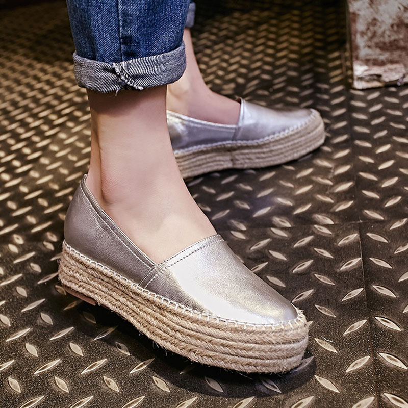 Nya Kvinnors Casual Slip-On Äkta Läder Loafers Dam Fritid Halm - Damskor - Foto 6