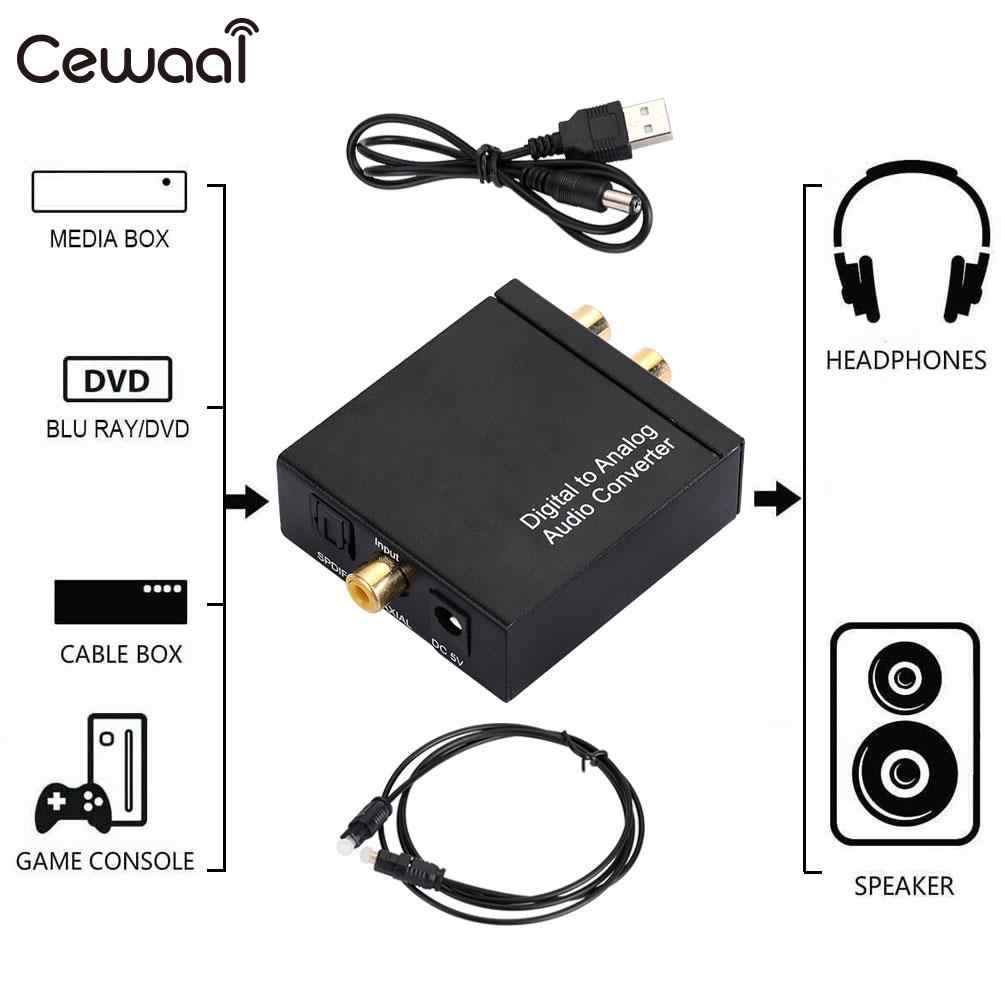 Audio Adapter untuk Apple TV Logam Premium SPDIF Adaptor Serat Optik Digital untuk Kotak TV Hitam Coaxial Analog Konverter Audio