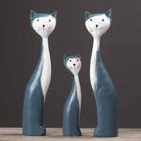 3pcs/set Creative Family Christmas Gift Wooden Cat Model Craft Furnishing Articles Home Decoration Miniature Craft For Parents